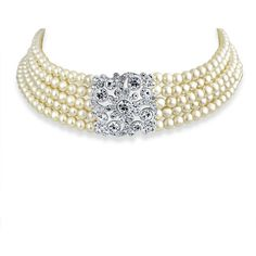 Bling Jewelry Lady Pearl Choker ($33) ❤ liked on Polyvore featuring jewelry, necklaces, choker, pearls, choker-necklaces, necklaces pendants, white, pearl necklace, pearl choker necklace and white pearl choker necklace