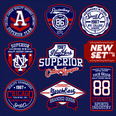 Vintage T shirt labels creative vector material 03
