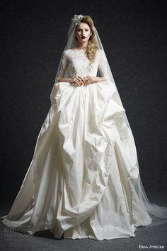 Ersa Atelier Fall 2015 Wedding Dresses | Wedding Inspirasi----Love The Veil Pinned To The Corner Of Her Bangs!
