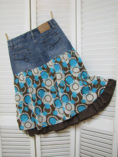 Upcycled Clothing Country Girl Skirt Cowgirl One of a Kind Altered Couture Brown and Turquoise Dancing Skirt