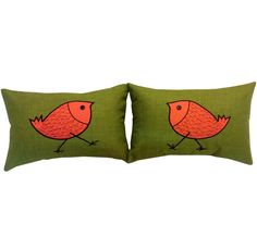 Two Green Decorative Pillow Covers with Bird Design for Outdoor or Indoor use.. $60.00, via Etsy.
