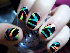 Easy nail art designs for short nails. Cute Simple Nails, Cute Nails, Pretty Nails, Cute Easy Nail Designs, Short Nail Designs, Easy Designs, Neon Nails, My Nails, Rainbow Nails