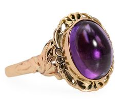 Amethyst Artistry Vintage Gold Ring - The Three Graces