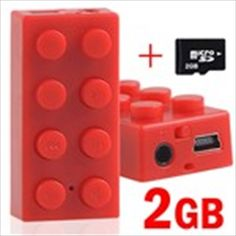 Building Block Shaped MP3 Music Player+ 2GB TF Micro SD Card - Red