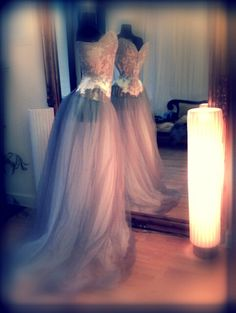 Oh Wow.  Oyster Pink silk duchess corset gown, with French couture lace and tulle skirts.