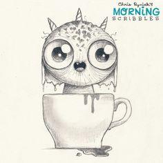 Morning+Scribbles+#315 Cute Monsters Drawings, Cartoon Monsters, Little Monsters, Cartoon Drawings, Easy Drawings, Monster Sketch, Doodle Monster, Monster Drawing, Tattoo Foto