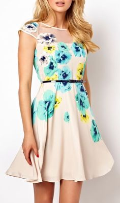 Apricot Embroidery Floral Dress <3