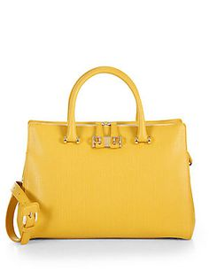 Furla Exclusively for Saks Fifth Avenue Mediterranean Tote. Love the yellow - although I wouldn't buy it exactly because of the color.  Too hard for me to pair it with every day clothes.  Great shape tho.