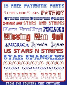 Get 15 free patriotic fonts for any summer project, craft, scrapbook, or anything else you are working on!