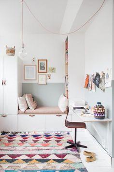 Vintage home kids room girl reading nook IKEA Wardrobe Hack In Charming Little Girl's Bedroom