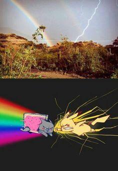 Pikachu versus Nyan Cat (rainbow and lightning picture) Pokemon Br, Memes Do Pokemon, Pokemon Funny, Pokemon Tips, Pokemon Team Rocket, Pokemon Fusion, Pokemon Cards, Really Funny Memes, Stupid Memes