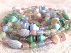 Vintage Art Deco Flapper Length Glass Bead Necklace, Pastel Colours. by GothiqueGirl on Etsy
