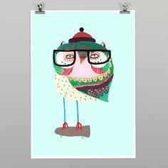 Owl Skater Print by Ashley Percival NZ Art Prints, Design Prints, Posters & NZ Design Gifts | endemicworld