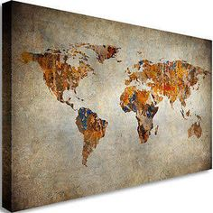 Globe tan map world map canvas vintage map set large wall art vintage style world map canvas google search gumiabroncs Image collections