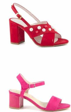 Sandale Rosii si Roz Damă cu Talpă Medie  | Medium-heeled Red and Pink sandals for women - alizera Pink Sandals, Footwear, Elegant, Medium, Heels, Casual, Red, Shopping, Women