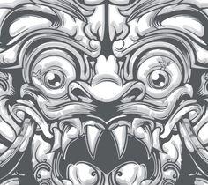 Oriental, Satanic Art, Graphic Illustration, Illustrations, Balinese, Creature Design, Adult Coloring, Creative Art, Sleeve Tattoos