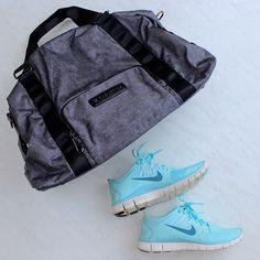 Fitness Fashion Finds – November Haul - Cute Gym Bag #nike #black #grey #fitness #fashion #fabletics #gymbag