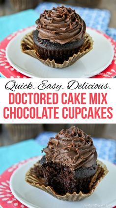 Delicious Doctored Chocolate Cupcakes. Transform a chocolate cake mix into amazing chocolate cupcakes.  So easy and so much better than the box recipe.