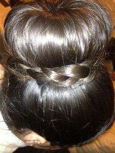 Sock bun with a braid.. My hair :)