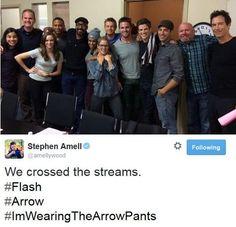 Arrow/The Flash cast! and of course stephen is haha #ImWearingTheArrowPants