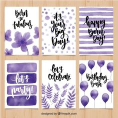 Watercolor birthday greetings in purple tones - # . - event planning - Watercolor birthday greetings in purple tones # - Watercolor Birthday Cards, Birthday Card Drawing, Birthday Card Design, Watercolor Cards, Watercolor Calligraphy Quotes, Creative Birthday Cards, Happy Birthday Cards, Birthday Greetings, Card Birthday