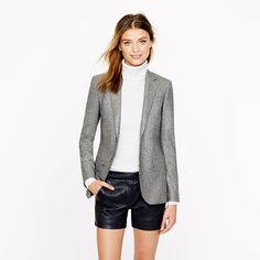 J.Crew - Women's Ludlow blazer in glen plaid Italian wool and leather pleated shorts. Love this look.