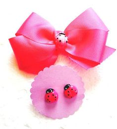 New Handmade Grosgrain Ribbon Hair Bows Earring Set Clips  Hairbows Accessories