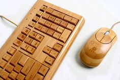 Bamboo Keyboard & Mouse.  Nice! Surely  a conversation piece.  100 percent biodegradable Bamboo.