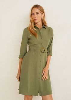 Discover the latest trends in Mango fashion, footwear and accessories. Shop the best outfits for this season at our online store. Flare, Camisa Formal, Mature Fashion, Belted Shirt Dress, Mango Fashion, Military Fashion, Military Style, Green Dress, Ideias Fashion
