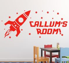 Space Ship Rocket Wall Sticker Personalised