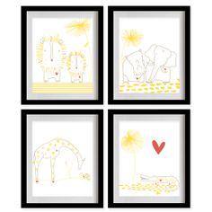 Safari Animals Nursery Art Print  White  by MadeForYouPrints, $47.95