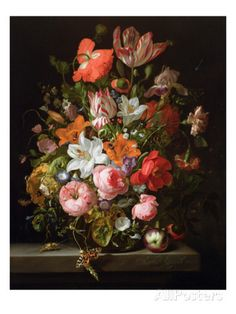 Still Life of Roses, Lilies, Tulips and Other Flowers in a Glass Vase with a Brindled Beauty Gicléedruk van Rachel Ruysch bij AllPosters.nl