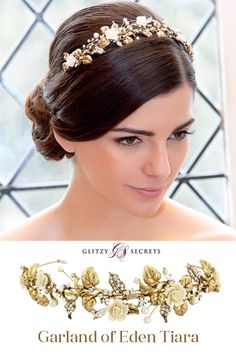 Simply enchanting - Garland of Eden Tiara from Glitzy Secrets incorporates crystals, pearls and porcelain roses in a beautiful vintage inspired tiara