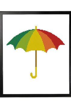 Multi Colored Happy Umbrella Cross Stitch Pattern by LefojaCrossStitch #crossstitch #needlecraft #decor #umbrella #colored #modern