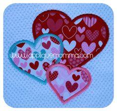 Three Hearts Applique Design
