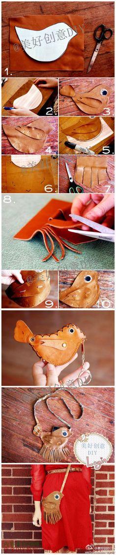 Leather bird bag
