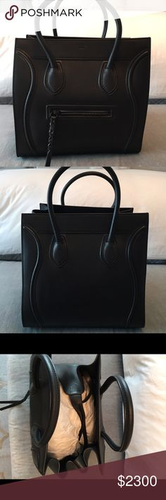 Celine Phantom tote Black leather. Excellent condition. Used less than 10x. Dust bag included. Celine Bags Totes