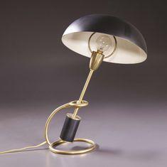 Angelo Lelli; Enameled Metal and Brass Table Lamp for Arredoluce, 1953.