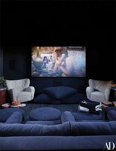 Home theaters furniture Momager Kris Jenner Gives AD a Tour of Her Never-Before-Seen Hidden Hills Home - Architectural Digest Home Cinema Room, Home Theater Rooms, Home Theater Design, Casa Da Kris Jenner, Kris Jenner House, Architectural Digest, Monochromatic Room, Charlotte Perriand, Custom Sofa