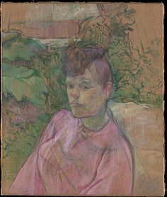 Henri de Toulouse-Lautrec, (French, 1864–1901). Woman in the Garden of Monsieur Forest, 1889-91. The Metropolitan Museum of Art, New York. Bequest of Joan Whitney Payson, 1975 (1976.201.15) | From 1889 to 1891, Lautrec experimented with the plein-air approach of the Impressionists, producing a group of studies showing figures set against the foliage in the garden of Monsieur (Père) Forest, his neighbor in the Paris district of Montmartre. #paris