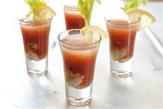 Louisiana Crawfish Time has Cajun shooters.  A spicy Bloody Mary mix with a raw oyster inside.  Bottoms up.