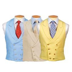 Double Breasted Linen Waistcoat