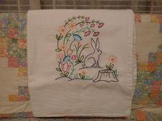 Spring Bunny Flour Sack Dish Towel by SugarHillEnterprises on Etsy