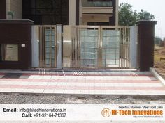 Stainless Steel Gate – HT-SSG-008 Home Gate Design, Grill Gate Design, House Main Gates Design, Front Gate Design, Main Door Design, Gate House, House Entrance, Entrance Decor, Entrance Gates