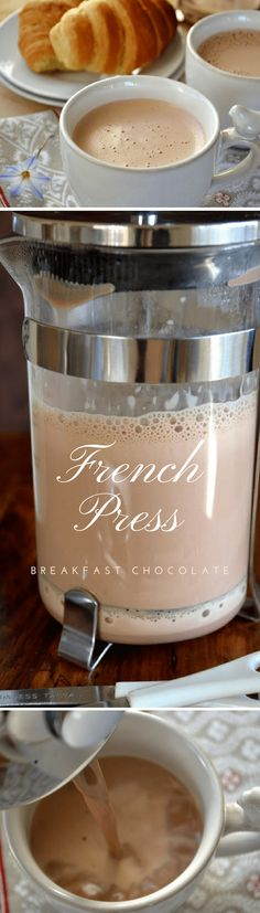 French Press Breakfast Chocolate ~ this easy method makes a thick, rich, frothed hot chocolate just like the Europeans enjoy! #hotcocoa #hotchocolate #chocolate #drinking chocolate #breakfastchocolate #Frenchpress #breakfast #beverage #fallbeverage #winterbeverage