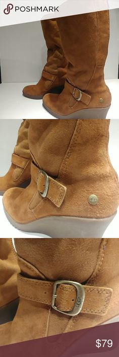 UGG Boots UGG Boots style # F8008F  Tall boot, low Knee, Wedge Fashion  size 7  Suede Leather Sheepskin  Includes black ugg drawstring storage bag. UGG Shoes Winter & Rain Boots Black Uggs, Boots Style, Tall Boots, Ugg Shoes, Winter Rain, Bag Storage, Suede Leather, Fashion Boots, Riding Boots