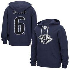 Mens Nashville Predators Shea Weber Reebok Navy Blue Lace Up Name & Number Hockey Hoodie