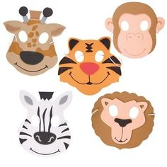 Foam Zoo Animal Mask featuring 6 different designs accessory for zoo fancy dress party. Party Bag Filler comes in sealed polybag from Novelty Toy Shop