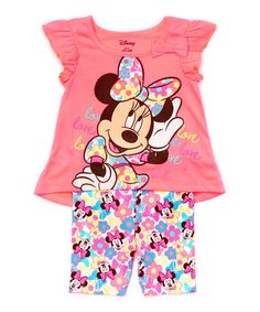 Another great find on #zulily! Pink Minnie 'Love' Cap-Sleeve Tee & Leggings - Toddler #zulilyfinds