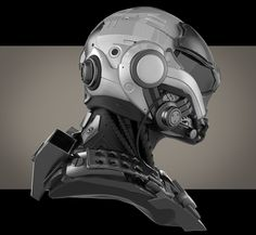Another hard surface study. Zbrush, Keyshot and PS. Futuristic Helmet, Futuristic Armour, Helmet Armor, Suit Of Armor, Body Armor, Robot Design, Helmet Design, Zbrush, Robots Characters